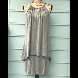 Interwoven fabric with silver two layer dress